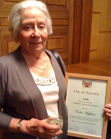 Violet Highton pictured in 2010 with her Norwich City Council civic award for her voluntary work with Norwich CAB. She...