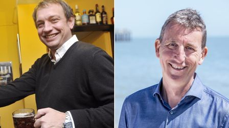 Dan Lightfoot, landlord of The Greyhound pub in Ipswich and Andy Wood, CEO of Adnams.