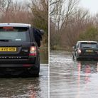Motorists pictured at the flooded Welney Wash Road on Wednesday (January 27).