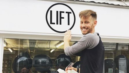 David Frostick, owner of Lift, pictured outside of his shop during its opening in 2017