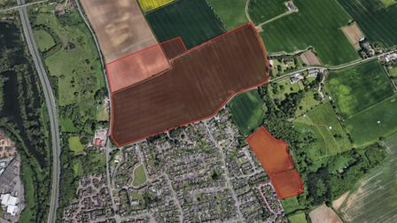 A close up view shows the approved Barham development and the site in Claydon which was refused permission