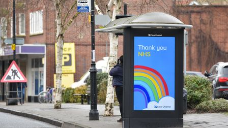 An advert thanking the NHS in a bus shelter in Tacket Street. Picture: SARAH LUCY BROWN