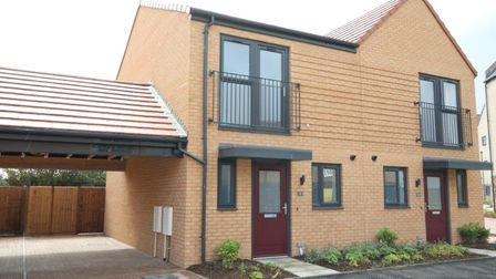 Exterior of two new build semi-detached houses