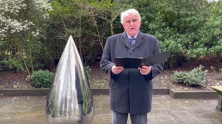 Councillor Brian Harvey, chairman of West Suffolk Council, said a few words at the teardrop sculpture in Bury St Edmunds...
