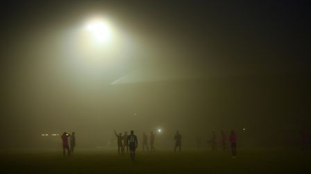 Lynn's game at The Walks against Halifax Town was played in thick fog. Picture: Ian Burt