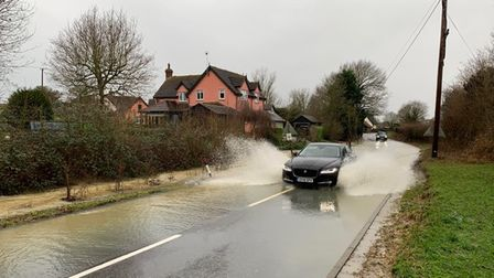 An emergency road closure is in place in Coddenham following severe flooding.