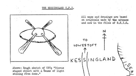 Sketch of the UFO seen by Mr John Smith near Kessingland. Picture: Hidden East Anglia/Lantern