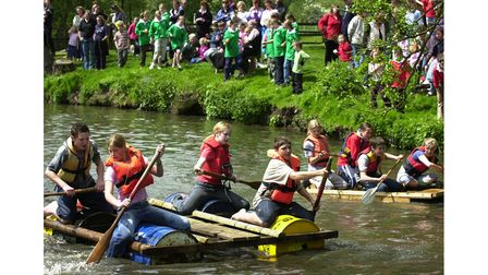 Young Farmers Club members in a raft race at Easton Farm Park in 2003