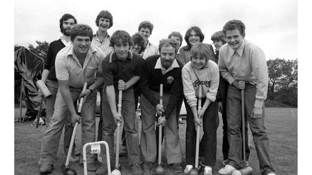 Debenham Young Farmers taking part in sponsored crazy croquet in July 1982