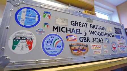 Michael Woodhouse flies his model aircraft at international competitions. One of his flight cases. P