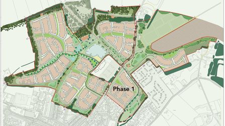 Taylor Wimpey's overall development site at Chilton Woods, north of Sudbury
