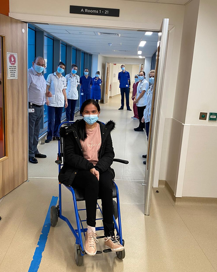 Eva was applauded by staff when she was discharged from Royal Papworth Hospital
