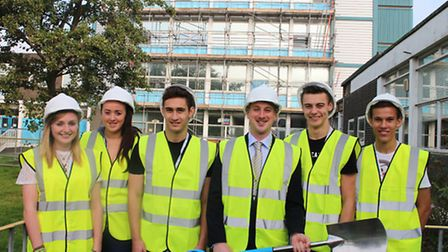 Principal Stuart Rimmer (centre) marks the start of the college's second phase of redevelopment with