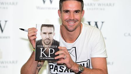 Cricketer Kevin Pietersen during a book launch at Waterstones Canary Wharf, Jubliee Place. Picture: