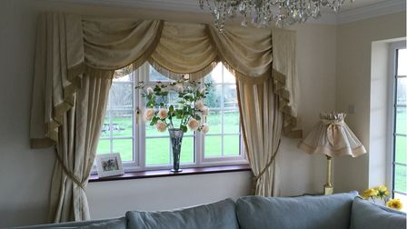 Beautiful curtains with matching lamp