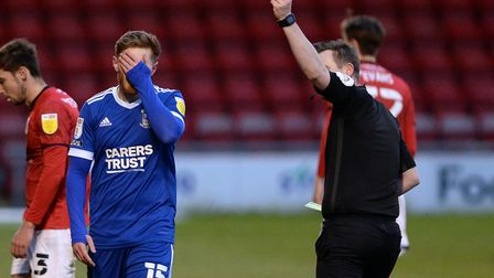 Teddy Bishop is shown a red card after his second yellow offence at Crewe Alexandra. Picture Pagepix