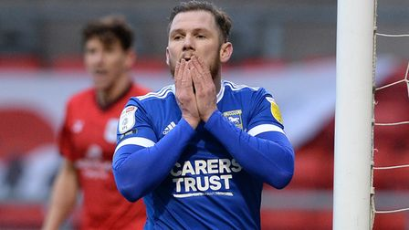 James Norwood is disappointed after he fails to add the killer touch as he misses a good chance in f