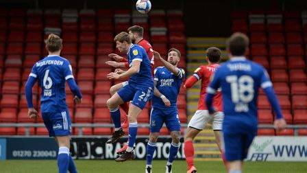 Mark McGuinness defending at Crewe Alexandra. Picture Pagepix Ltd