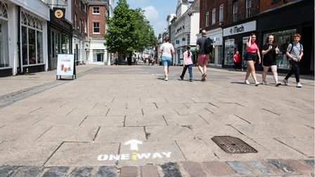 Social distancing guidelines have become a regular sight in and around Norwich city centre since sho