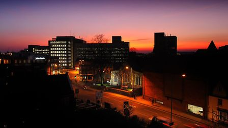 Library picture of a sunset over Norwich City centre. Golden Ball Street. PHOTO: ANTONY KELLY COPY.