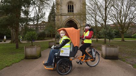 Bury St Edmunds Rickshaw is run by volunteers and usually takes people on trips round the Abbey Gard