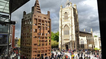 The People's Tower being built which is a cardboard replica of St Peter Mancroft Church for the Norf