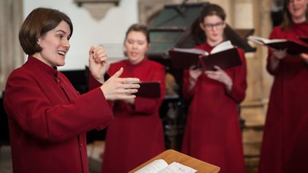 The Girls' Choir & Choral Scholars of St Peter Mancroft with director Jody Butler. Photo: Bill Smith