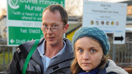 Rachel Ward, with fellow parent Mark Sayer, campaigned against plans to turn Cavell Primary School i