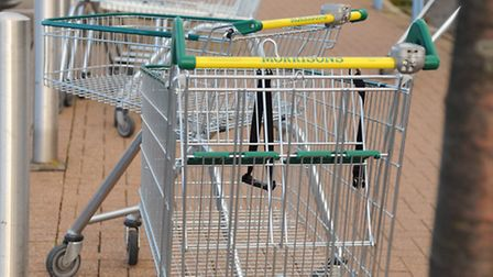 Morrisons shopping trolleys left scattered around the store car park as the store has stopped the c