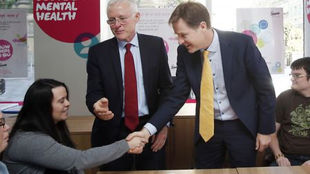 Deputy Prime Nick Clegg and Health Minister Norman Lamb during a visit to the Scottish Association f