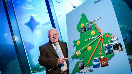 Former BBC weather man Michael Fish reopens up the Sealife Centre in Hunstanton, after it was damage