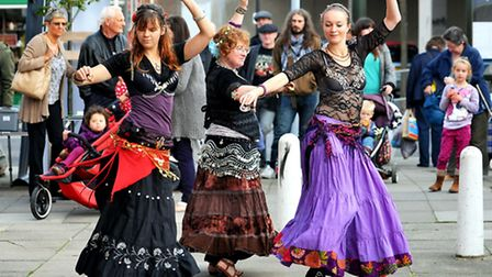 Anam Cara belly dancers at a previous year's Magdalen Street celebration. Photo: Bill Smith