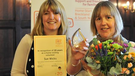 Sue Wicks, on the right, was one of five worthy volunteers to receive a long service award. With Nat