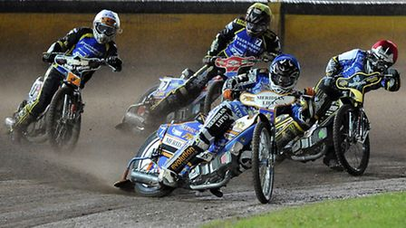 heat 2 Kyle Newman of Poole Pirates leads -Poole Pirates v Kings Lynn Stars - Elite League Speedway