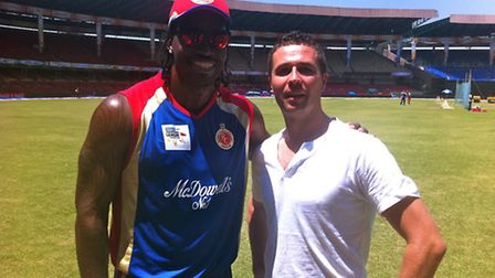 Jeremy Buxton in India with West Indian cricketer Chris Gayle