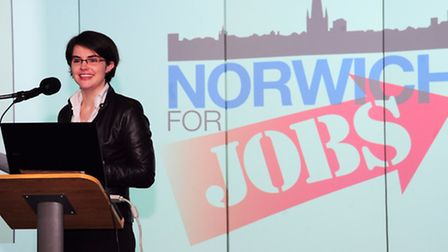 Chloe Smith at a Norwich For Jobs celebration. Photo by Simon Finlay.