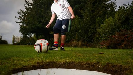 Channel 5's Rob Lamarr opens the new FootGolf course at Eagles Golf in Tilney All Saints. Picture: M