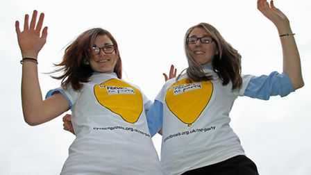 North Walsham High skydivers Megan Spencer (left) and Sarah Knight who are taking a leap for the Cys