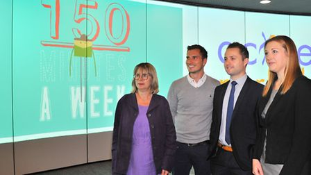 """Launching the animated film """"150 Minutes""""at The Forum(l to r) Dr Carly Hughes from Fakenham Medical"""