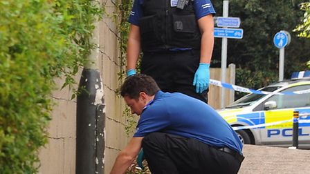 Police search the Boatman Way footpath between Dereham Road and Earlham Green Road, after a fight th