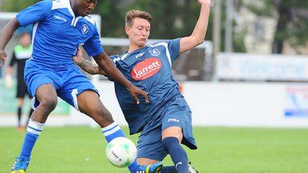 Christy Finch, right, was in goalscoring form for Wroxham at the weekend. Picture: JAMES BASS