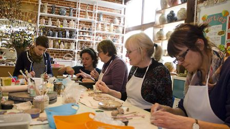 A ceramic workshop was held at Amy's Art Barn in Welborne as part of the Breckland Art Trail, which