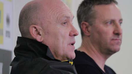 Norwich City's new first-team coach Mike Phelan unveiled on Thursday alongside manager Neil Adams. P