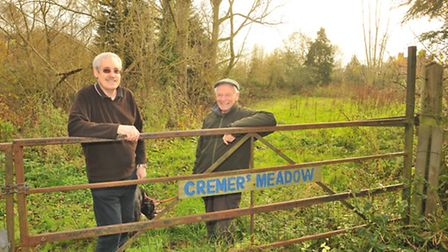 Brundall parish councillors Grant Nurden and Martin Davies at Cremer's Meadow, which the parish has