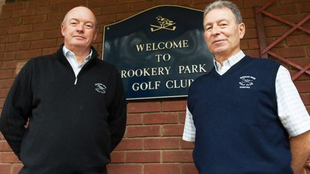 Rookery Park Golf club members Andy Crisp (left, in black top) and John W Smith along with Alan Bidw