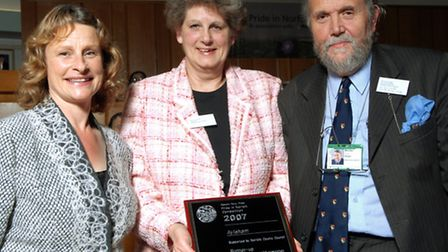 Pride in Norfolk Awards 2007. Liz Jones with the runners-up trophy for Aylsham (over 5000 pop.) with