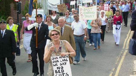 SPELLING IT OUT: Liz Jones, chairman of Aylsham Town Council, makes her views clear during the prote