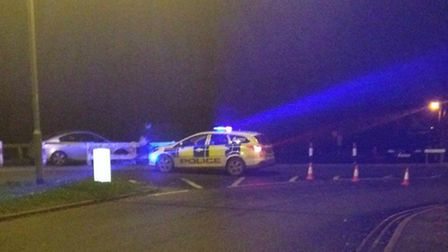 The road closure at Crown Road in Dereham after a man was hit by a car.
