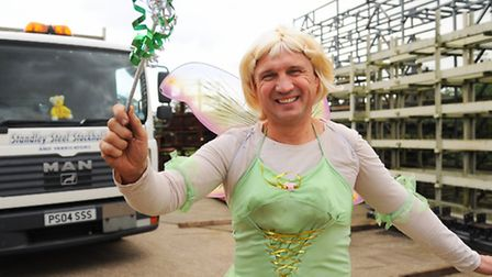 Lorry driver Glynn Heyes at Standley Steel at Wymondham, dressed at Tinkerbell all week for Children