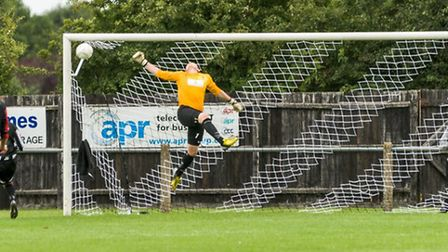 Andy Wilton in action for Dereham Town earlier this season. Picture: NEIL SMITH